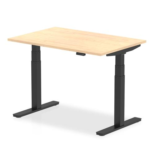 Air 1200 x 800mm Height Adjustable Desk Maple Top Black Leg