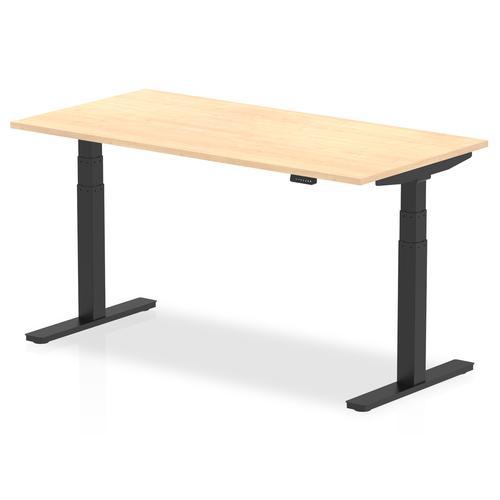Air 1600 x 800mm Height Adjustable Desk Maple Top Black Leg