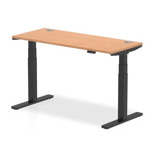 Air 1400 x 600mm Height Adjustable Desk Oak Top Cable Ports Black Leg