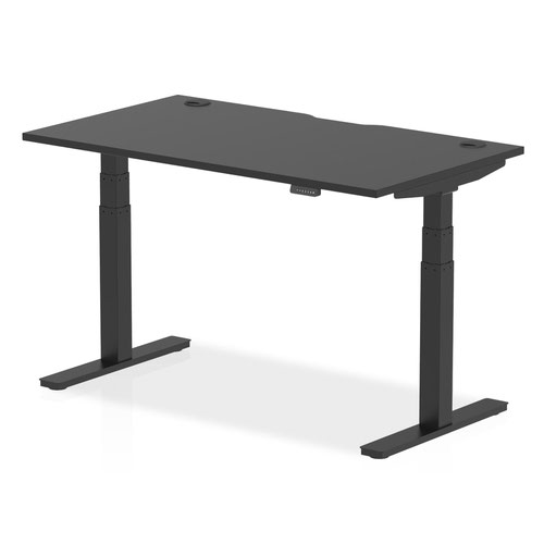 Air Black Series 1400 x 800mm Height Adjustable Desk Black Top with Cable Ports Black Leg