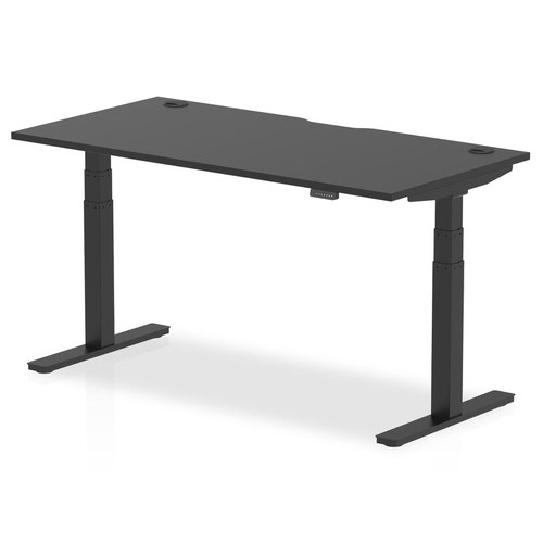 Air Black Series 1600 x 800mm Height Adjustable Desk Black Top with Cable Ports Black Leg