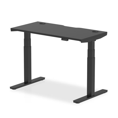 Air Black Series 1200 x 600mm Height Adjustable Desk Black Top with Cable Ports Black Leg