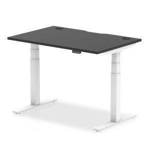 Air Black Series 1200 x 800mm Height Adjustable Desk Black Top with Cable Ports White Leg