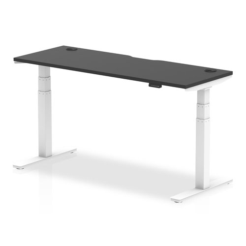 Air Black Series 1600 x 600mm Height Adjustable Desk Black Top with Cable Ports White Leg