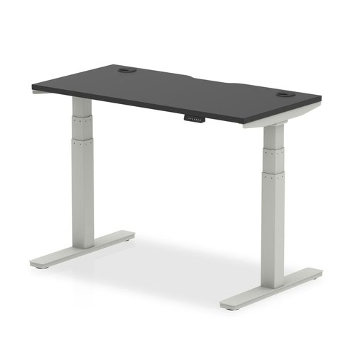 Air Black Series 1200 x 600mm Height Adjustable Desk Black Top with Cable Ports Silver Leg