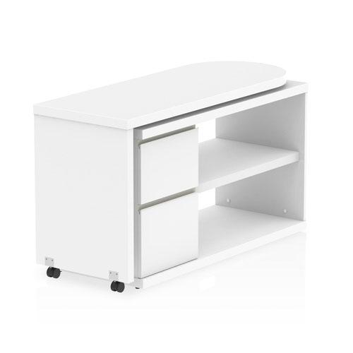 Fleur L Desk with Pedestal White