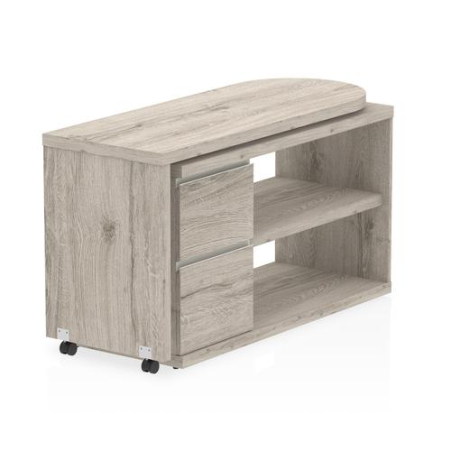 Fleur L Desk with Pedestal Grey Oak