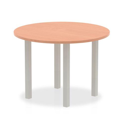 Impulse 1000mm Round Table Beech Top Silver Post Leg