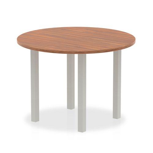 Impulse 1000mm Round Table Walnut Top Silver Post Leg