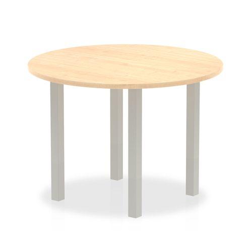 Impulse 1000mm Round Table Maple Top Silver Post Leg