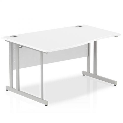 Impulse Cantilever 1400 Left Hand Wave Desk White