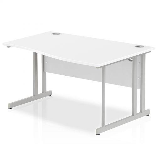 Impulse Cantilever 1400 Right Hand Wave Desk White