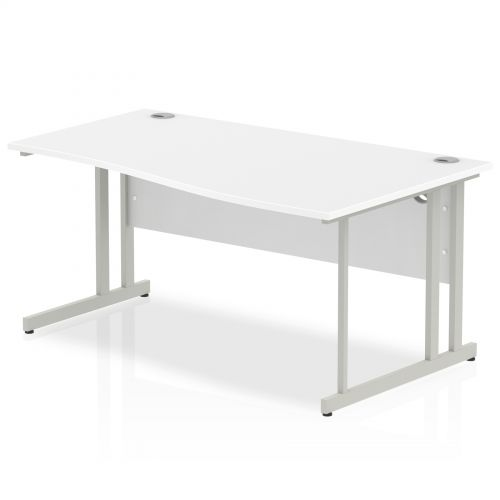Impulse Cantilever 1600 Right Hand Wave Desk White