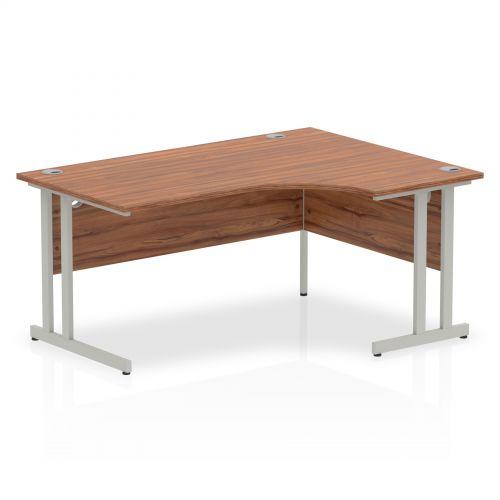 Impulse Cantilever 1600 Right Hand Crescent Desk Walnut