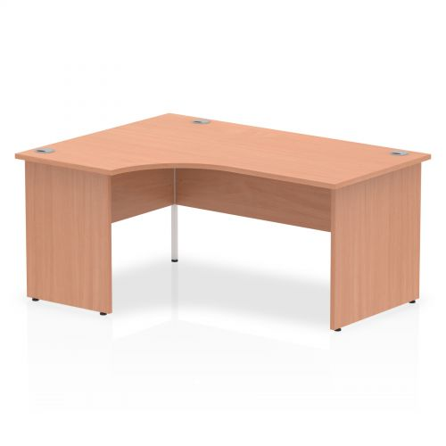 Impulse Panel End 1600 Left Hand Crescent Desk Beech