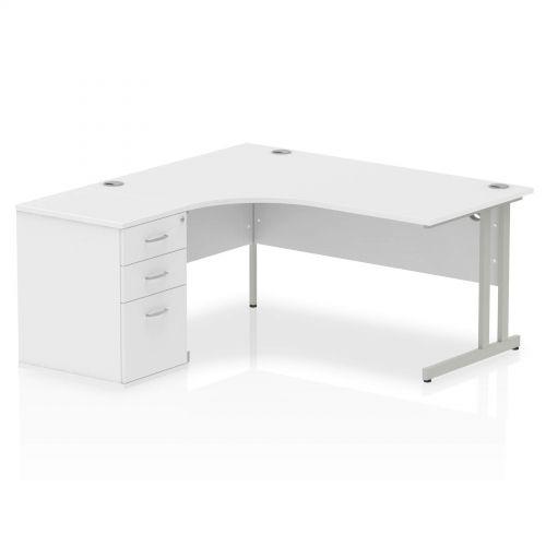 Impulse 1600 Left Hand Cantilever Workstation 600 Pedestal Bundle White