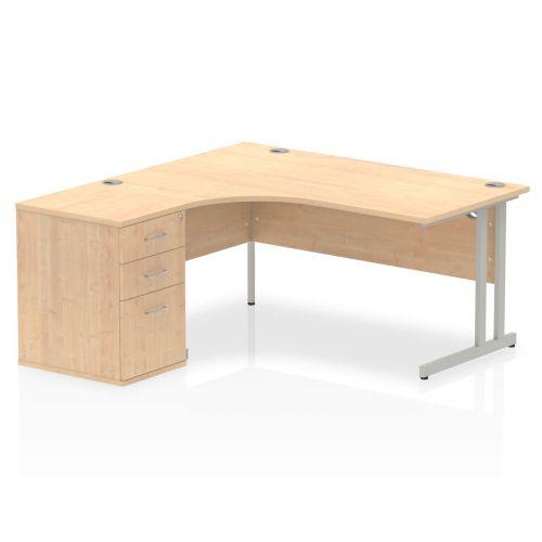 Impulse 1600 Left Hand Cantilever Workstation 600 Pedestal Bundle Maple