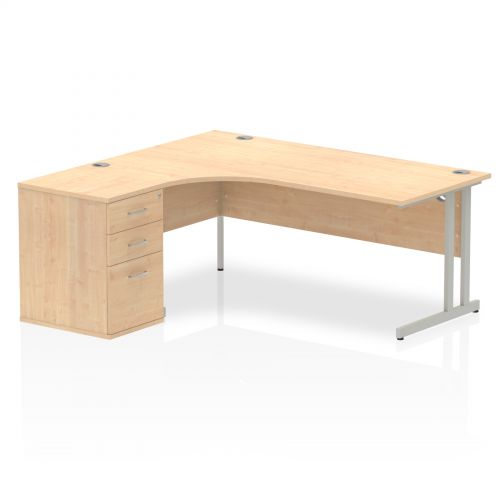 Impulse 1800 Left Hand Cantilever Workstation 600 Pedestal Bundle Maple