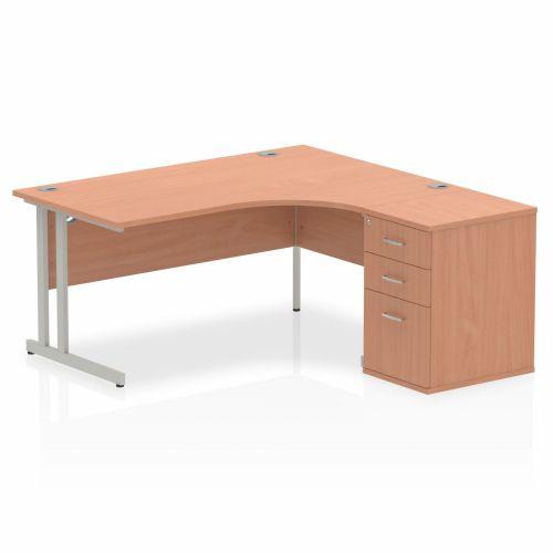 Impulse 1600 Right Hand Cantilever Workstation 600 Pedestal Bundle Beech