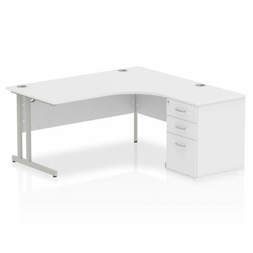 Impulse 1600 Right Hand Cantilever Workstation 600 Pedestal Bundle White