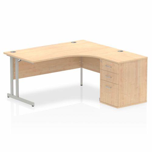 Impulse 1600 Right Hand Cantilever Workstation 600 Pedestal Bundle Maple
