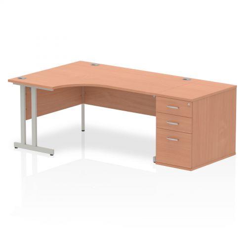 Impulse 1600 Left Hand Cantilever Workstation 800 Pedestal Bundle Beech