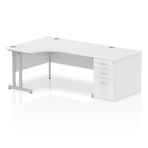 Impulse 1600 Left Hand Cantilever Workstation 800 Pedestal Bundle White