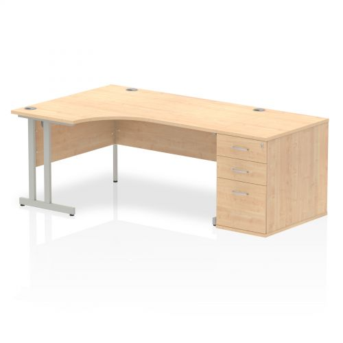 Impulse 1600 Left Hand Cantilever Workstation 800 Pedestal Bundle Maple