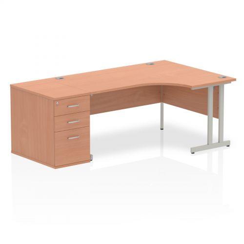 Impulse 1600 Right Hand Cantilever Workstation 800 Pedestal Bundle Beech