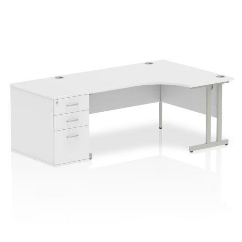 Impulse 1600 Right Hand Cantilever Workstation 800 Pedestal Bundle White