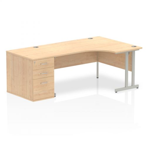 Impulse 1600 Right Hand Cantilever Workstation 800 Pedestal Bundle Maple