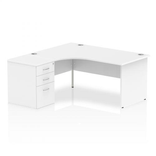 Impulse 1600 Left Hand Panel End Workstation 600 Pedestal Bundle White