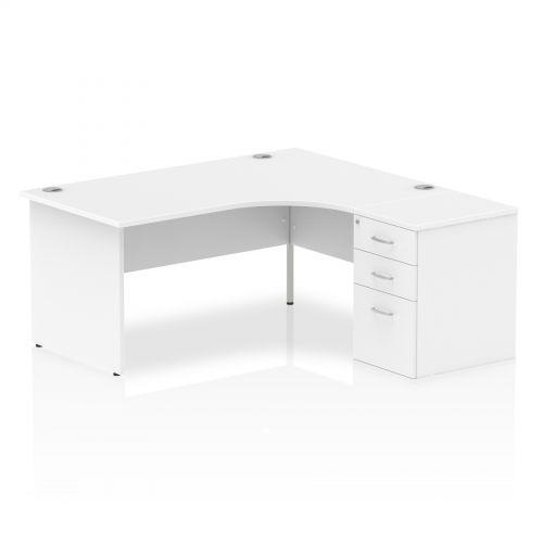 Impulse 1600 Right Hand Panel End Workstation 600 Pedestal Bundle White