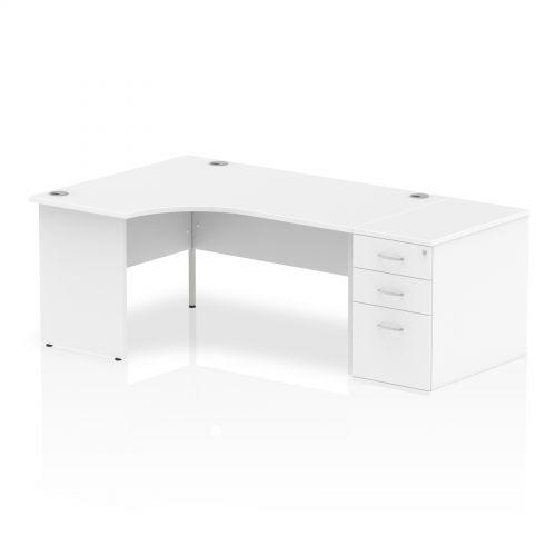Impulse 1600 Left Hand Panel End Workstation 800 Pedestal Bundle White