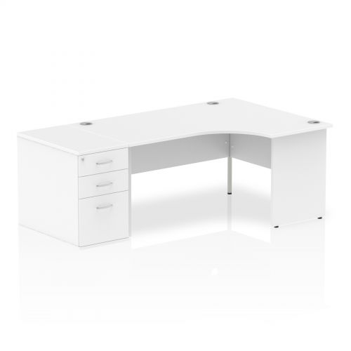 Impulse 1600 Right Hand Panel End Workstation 800 Pedestal Bundle White