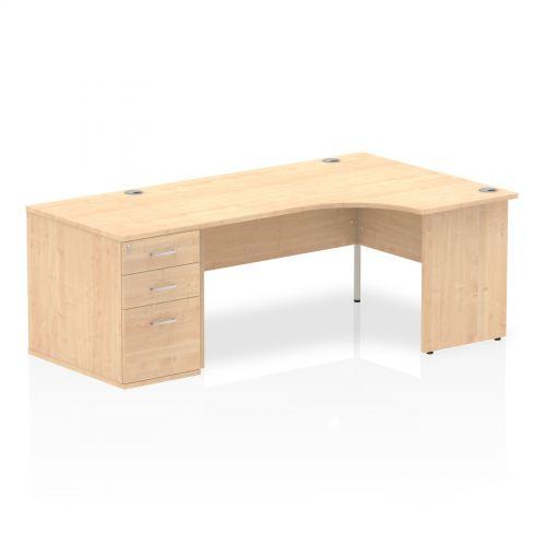 Impulse 1600 Right Hand Panel End Workstation 800 Pedestal Bundle Maple