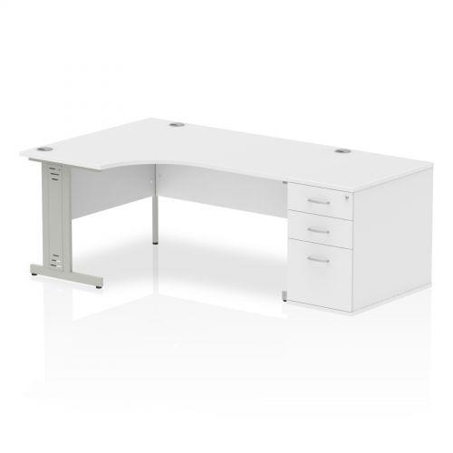 Impulse 1600 Left Hand Wire Managed Workstation 800 Pedestal Bundle White