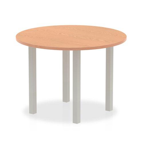 Impulse 1000mm Round Table Oak Top Silver Post Leg