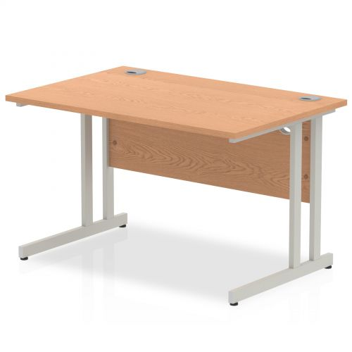 Impulse 1200 x 800mm Straight Desk Oak Top Silver Cantilever Leg I000806