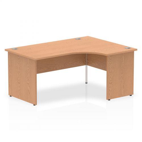 Impulse Panel End 1600 Right Hand Crescent Desk Oak