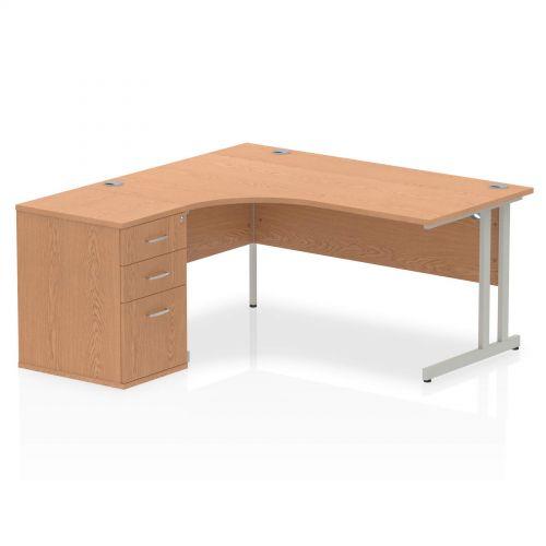 Impulse 1600 Left Hand Cantilever Workstation 600 Pedestal Bundle Oak