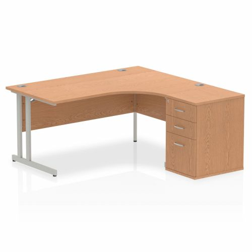 Impulse 1600 Right Hand Cantilever Workstation 600 Pedestal Bundle Oak