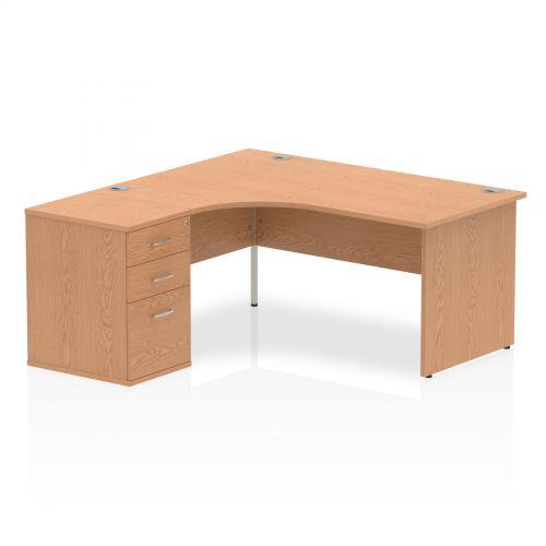 Impulse 1600 Left Hand Panel End Workstation 600 Pedestal Bundle Oak