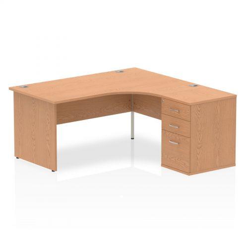 Impulse 1600 Right Hand Panel End Workstation 600 Pedestal Bundle Oak