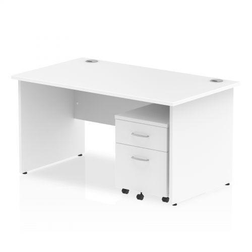 Impulse 1400 Straight Panel End Workstation 500 Two drawer mobile Pedestal Bundle White