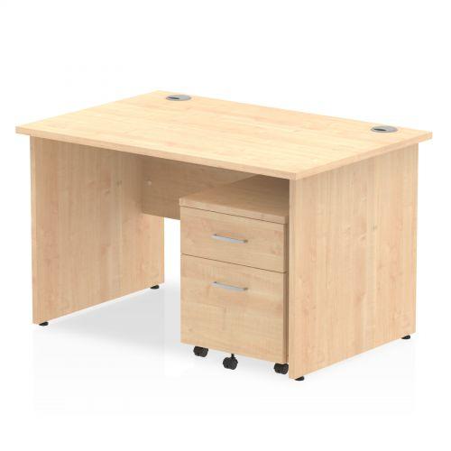 Impulse 1200 Straight Panel End Workstation 500 Two drawer mobile Pedestal Bundle Maple
