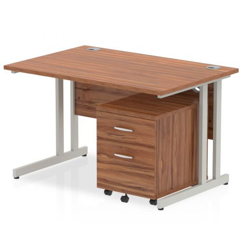 Impulse 1200 Straight Cantilever Workstation 500 Two drawer mobile Pedestal Bundle Walnut
