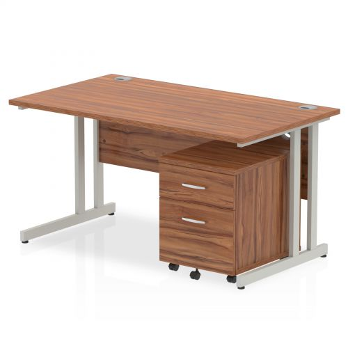 Impulse 1400 Straight Cantilever Workstation 500 Two drawer mobile Pedestal Bundle Walnut