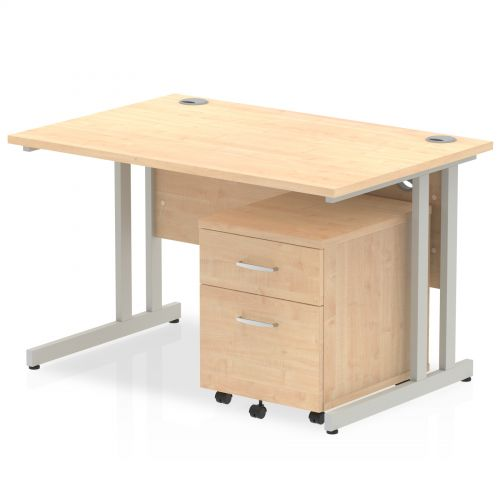 Impulse 1200 Straight Cantilever Workstation 500 Two drawer mobile Pedestal Bundle Maple