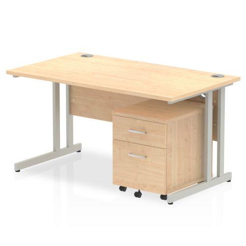 Impulse 1400 Straight Cantilever Workstation 500 Two drawer mobile Pedestal Bundle Maple